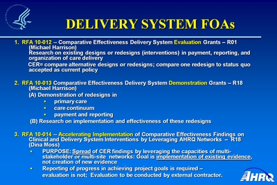 Delivery System FOAs