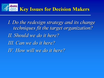 Key Issues for Decision Makers