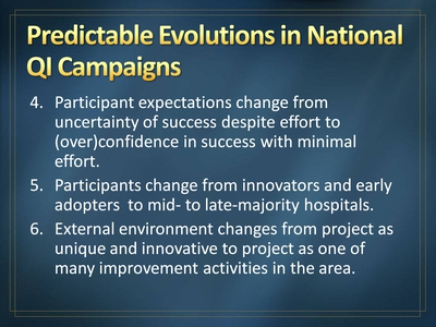 Predictable Evolutions in National QI Campaigns