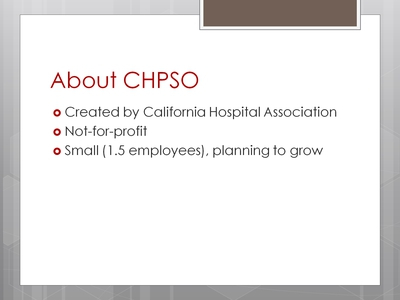 About CHPSO