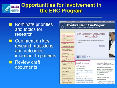 Opportunities for involvement in the EHC Program