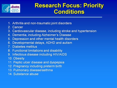 Research Focus: Priority Conditions