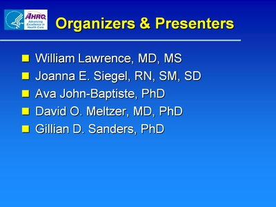 Slide 2. Organizers and Presenters