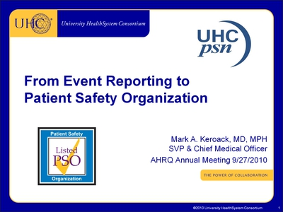 From Event Reporting to Patient Safety Organization
