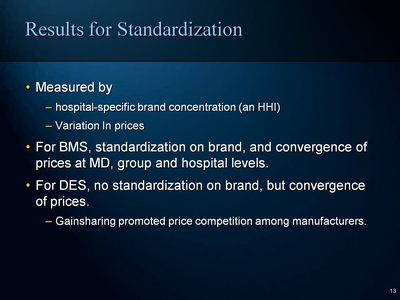 Results for Standardization