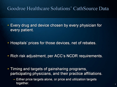Goodroe Healthcare Solutions' CathSource Data