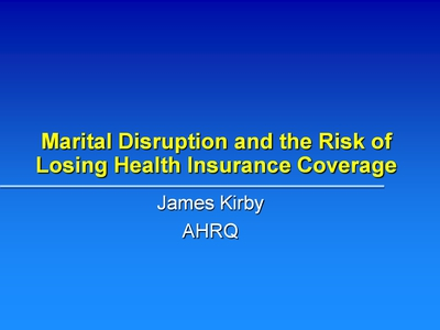 Marital Disruption and the Risk of Losing Health Insurance Coverage
