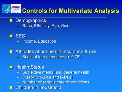 Controls for Multivariate Analysis