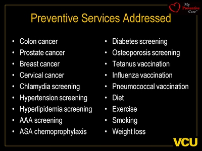 Preventive Services Addressed