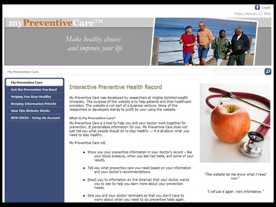 Image: A screenshot of the patient home page for MyPreventiveCare