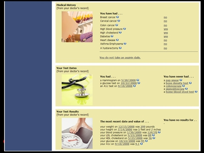 Image: The MyPreventiveCare Web site page that shows a patient his or her health information