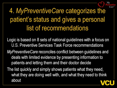 4. MyPreventiveCare categorizes the patient's status and gives a personal list of recommendations