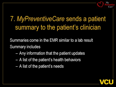 7. MyPreventiveCare sends a patient summary to the patient's clinician