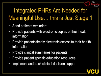 Integrated PHRs Are Needed for Meaningful Use. this is Just Stage 1