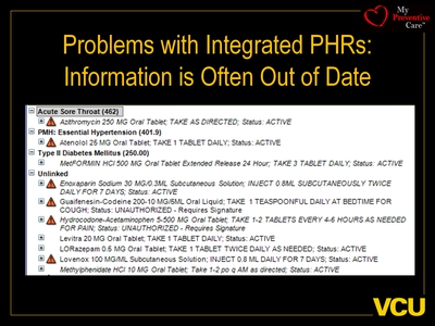Problems with Integrated PHRs: Information is Often Out of Date