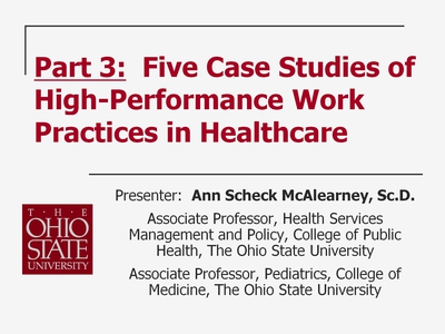 Part 19. Part 3: Five Case Studies of High-Performance Work Practices in Healthcare
