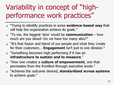 Slide 27. Variability in concept of high-performance work practices