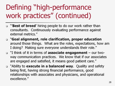 Slide 28. Defining high-performance work practices (continued)