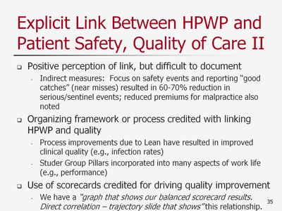 Slide 35. Explicit Link Between HPWP and Patient Safety, Quality of Care II