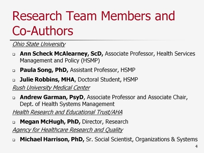 Slide 4. Research Team Members and Co-Authors