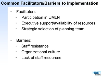 Common Facilitators/Barriers to Implementation