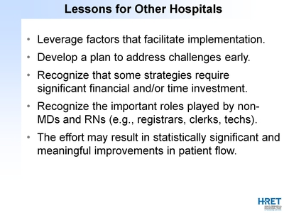Lessons for Other Hospitals