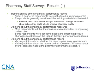Pharmacy Staff Survey: Results (1)