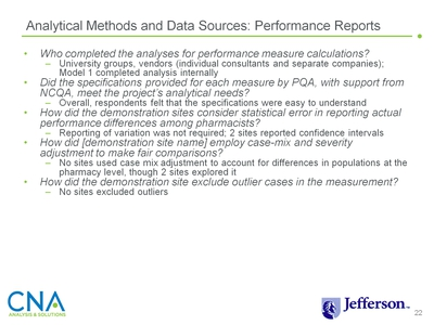 Analytical Methods and Data Sources: Performance Reports