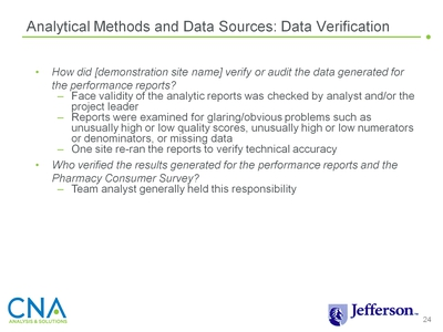 Analytical Methods and Data Sources: Data Verification