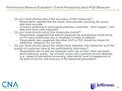 Performance Measure Evaluation: Overall Perceptions about PQA Measures