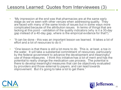 Lessons Learned: Quotes from Interviewees (3)