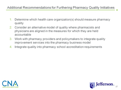 Additional Recommendations for Furthering Pharmacy Quality Initiatives