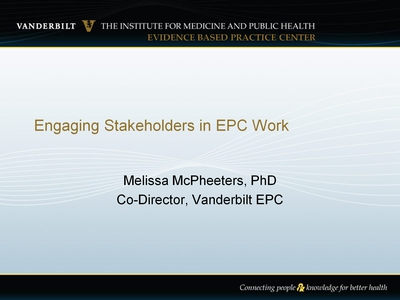 Engaging Stakeholders in EPC Work