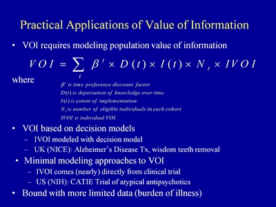 Slide 5. Practical Applications of Value of Information (VOI)