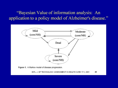Slide 6. Bayesian Value of information analysis: An application to a policy model of Alzheimer's disease.