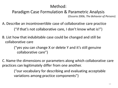 Method: Paradigm Case Formulation and Parametric Analysis