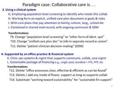 Paradigm case: Collaborative care is