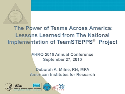 The Power of Teams Across America: Lessons Learned from The National Implementation of TeamSTEPPS® Project