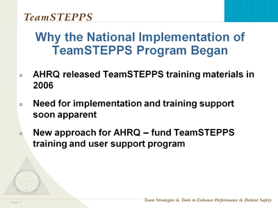 Why the National Implementation of TeamSTEPPS Program Began