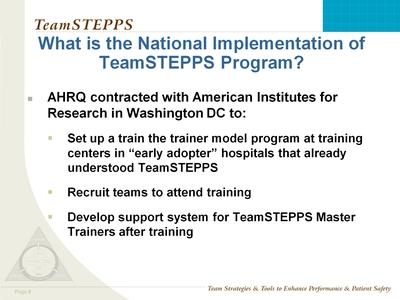 More Components of the National Implementation of TeamSTEPPS Program