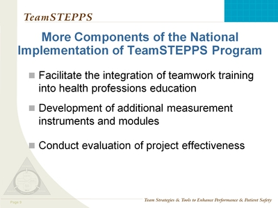 National Implementation of TeamSTEPPS Training