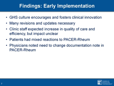 Findings: Early implementation
