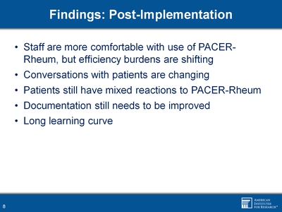 Findings: Post-implementation