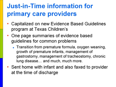 Just-in-Time information for primary care providers