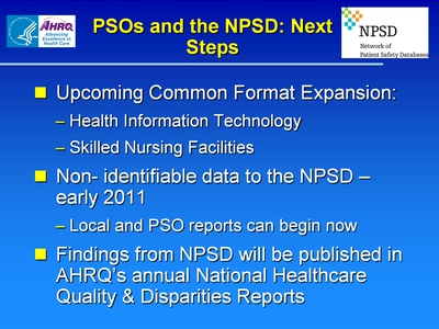 PSOs and the NPSD: Next Steps