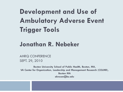 Development and Use of Ambulatory Adverse Event Trigger Tools
