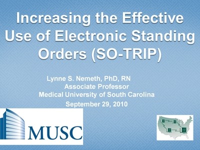 Slide 1. Increasing the Effective Use of Electronic Standing Orders (SO-TRIP)