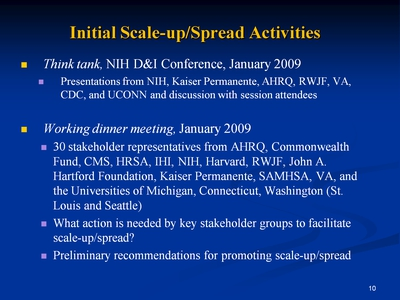 Slide 10. Initial Scale-up/Spread Activities