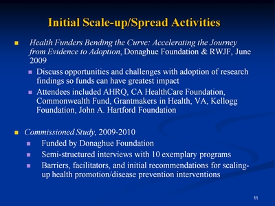 Slide 11. Initial Scale-up/Spread Activities