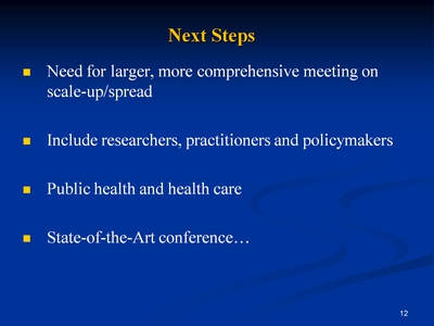Slide 12. Next Steps